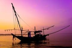 Siluetta della barca Fotografie Stock
