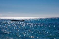 Siluetta della barca Fotografie Stock Libere da Diritti