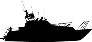 Siluetta della barca (yacht) Fotografia Stock Libera da Diritti