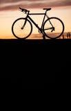 Siluetta della bici della corsa nel tramonto Fotografia Stock