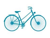 Siluetta della bicicletta d'annata nella progettazione blu Immagini Stock Libere da Diritti