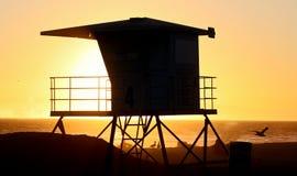 Siluetta della capanna della spiaggia Fotografia Stock Libera da Diritti