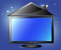 Siluetta della casa e della TV sulla priorità bassa del cielo notturno Immagini Stock