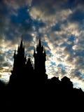 Siluetta della chiesa della nostra signora sui precedenti del cielo Fotografia Stock Libera da Diritti