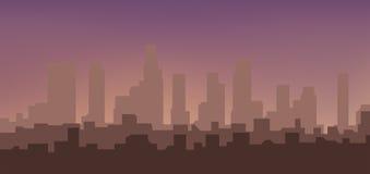Siluetta della città ad alba Immagini Stock