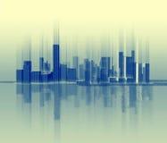 Siluetta della città che è simile ad un'onda sonora Fotografie Stock Libere da Diritti