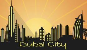 Siluetta della città del Dubai Fotografia Stock Libera da Diritti