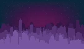 Siluetta della città di notte Immagini Stock