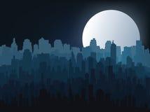 Siluetta della città di notte Fotografia Stock Libera da Diritti