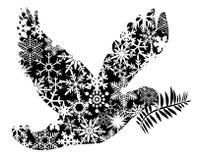 Siluetta della colomba di pace di natale Fotografia Stock Libera da Diritti