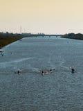 Siluetta della concorrenza delle canoe sul fiume immagine stock