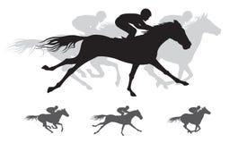 Siluetta della corsa di cavallo, galoppo Fotografia Stock Libera da Diritti