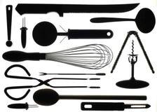 Siluetta della cucina Utencils Immagini Stock Libere da Diritti