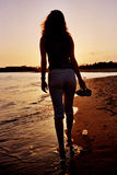 Siluetta della donna Fotografia Stock