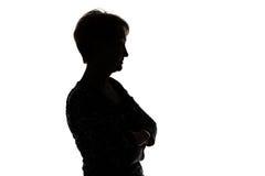 Siluetta della donna adulta nel profilo Fotografia Stock Libera da Diritti