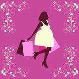 Siluetta della donna di acquisto. Immagine Stock Libera da Diritti