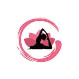 Siluetta della donna di yoga, Lotus Flower con Zen Logo Design Fotografie Stock