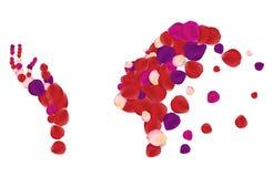 Siluetta della donna fatta con i petali rosa variopinti Fotografie Stock Libere da Diritti