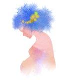 Siluetta della donna incinta più l'acquerello astratto illustrazione di stock
