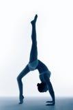 Siluetta della donna sportiva blu che sta sul ponte Immagine Stock Libera da Diritti