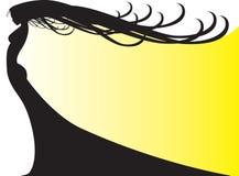 Siluetta della donna su colore giallo fotografia stock