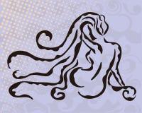Siluetta della donna su fondo astratto grigio Fotografia Stock Libera da Diritti