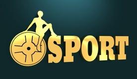 Siluetta della donna sul testo di sport Fotografie Stock Libere da Diritti