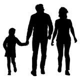 Siluetta della famiglia felice su un fondo bianco Illustrazione di vettore Immagini Stock Libere da Diritti
