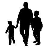 Siluetta della famiglia felice su un fondo bianco Illustrazione di vettore Immagine Stock