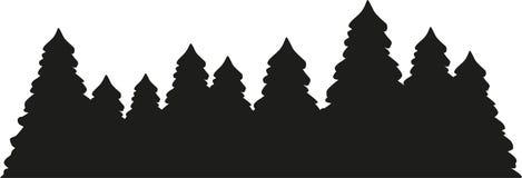 Siluetta della foresta dell'albero di abete illustrazione di stock