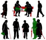 Siluetta della gente anziana Immagini Stock Libere da Diritti