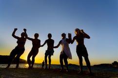 Siluetta della gente che balla sulla spiaggia Fotografia Stock Libera da Diritti