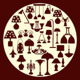 Siluetta della lampada e del candeliere - illustrazione Immagini Stock