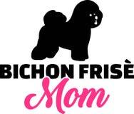 Siluetta della mamma di Bichon Frise Fotografie Stock
