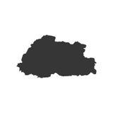 Siluetta della mappa del Bhutan Immagini Stock
