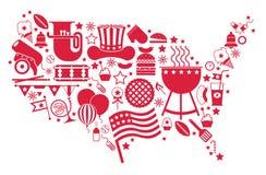 Siluetta della mappa di U.S.A. Fotografia Stock Libera da Diritti