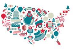 Siluetta della mappa di U.S.A. Immagini Stock Libere da Diritti