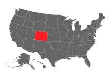 Siluetta della mappa di vettore di Colorado Alta illustrazione dettagliata Stato unito del paese dell'America immagine stock libera da diritti