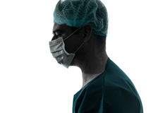 Siluetta della mascherina di profilo dell'uomo del chirurgo del medico Fotografia Stock