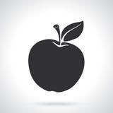 Siluetta della mela con il gambo e la foglia Immagini Stock Libere da Diritti