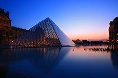 Siluetta della piramide della feritoia al crepuscolo Fotografia Stock