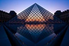 Siluetta della piramide della feritoia alla sera Fotografia Stock Libera da Diritti