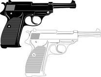 Siluetta della pistola Fotografie Stock Libere da Diritti