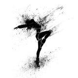 Siluetta della pittura della spruzzata del nero della ragazza di dancing Fotografia Stock Libera da Diritti