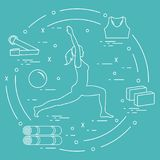 Siluetta della posa di yoga della donna e di varie merci per yoga distendasi illustrazione vettoriale