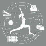 Siluetta della posa di yoga della donna e di varie merci per yoga distendasi royalty illustrazione gratis
