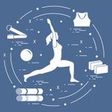 Siluetta della posa di yoga della donna e di varie merci per yoga distendasi illustrazione di stock