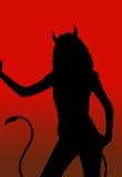 Siluetta della ragazza del diavolo illustrazione vettoriale
