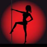Siluetta della ragazza di striptease Fotografie Stock Libere da Diritti