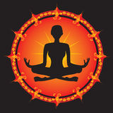 Siluetta della ragazza di yoga Immagini Stock Libere da Diritti